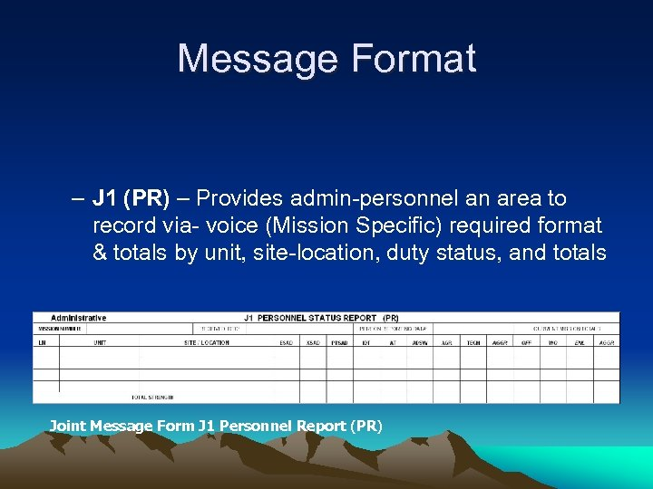 Message Format – J 1 (PR) – Provides admin-personnel an area to record via-