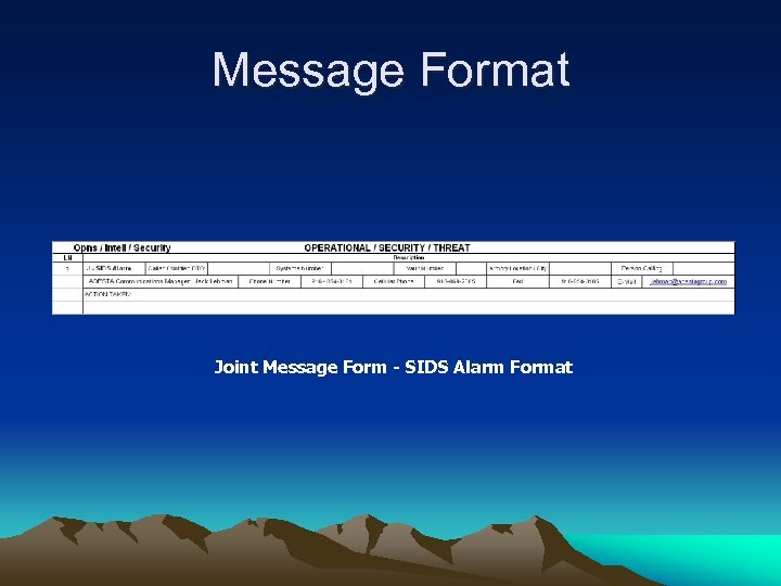 Message Format Joint Message Form - SIDS Alarm Format