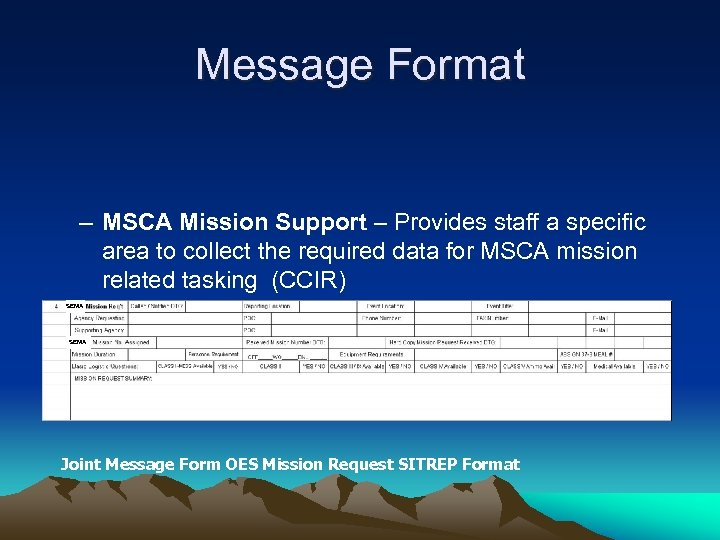 Message Format – MSCA Mission Support – Provides staff a specific area to collect