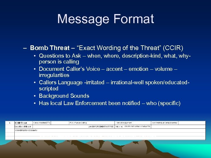 "Message Format – Bomb Threat – ""Exact Wording of the Threat"" (CCIR) • Questions"