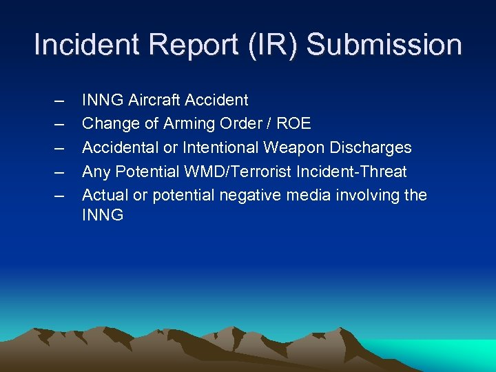 Incident Report (IR) Submission – – – INNG Aircraft Accident Change of Arming Order