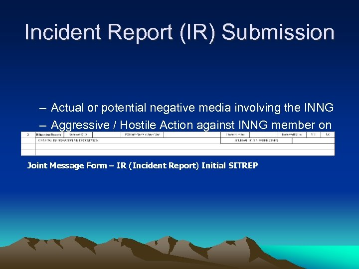 Incident Report (IR) Submission – Actual or potential negative media involving the INNG –