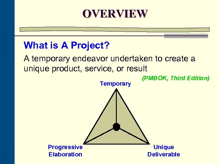 OVERVIEW What is A Project? A temporary endeavor undertaken to create a unique product,