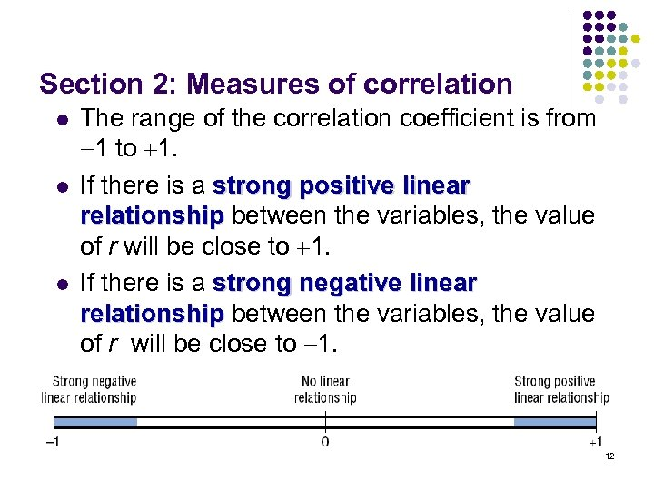 Section 2: Measures of correlation l l l The range of the correlation coefficient