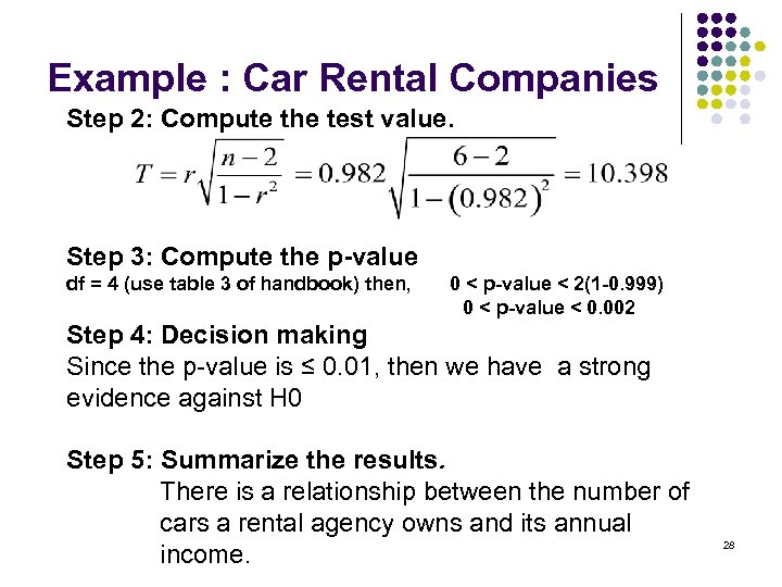 Example : Car Rental Companies Step 2: Compute the test value. Step 3: Compute