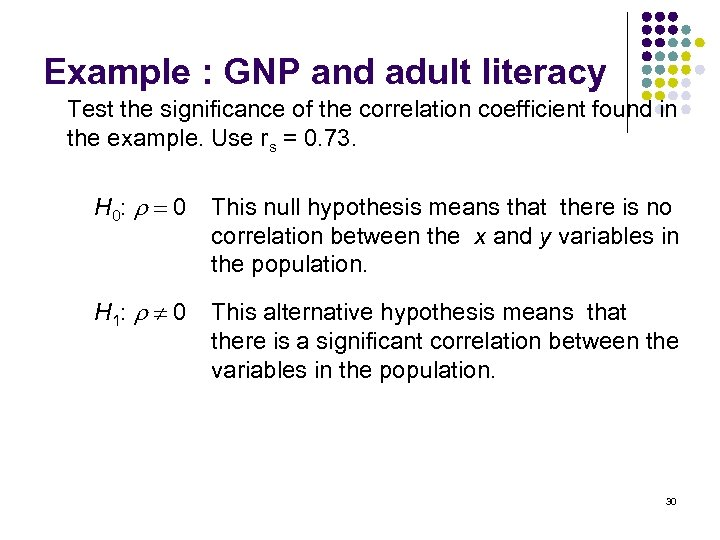 Example : GNP and adult literacy Test the significance of the correlation coefficient found