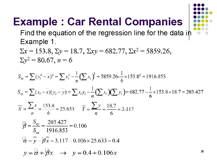 Example : Car Rental Companies Find the equation of the regression line for the
