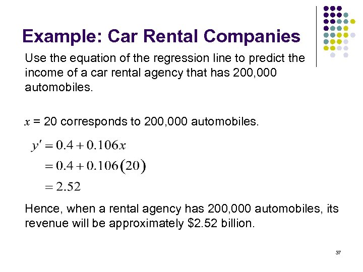 Example: Car Rental Companies Use the equation of the regression line to predict the