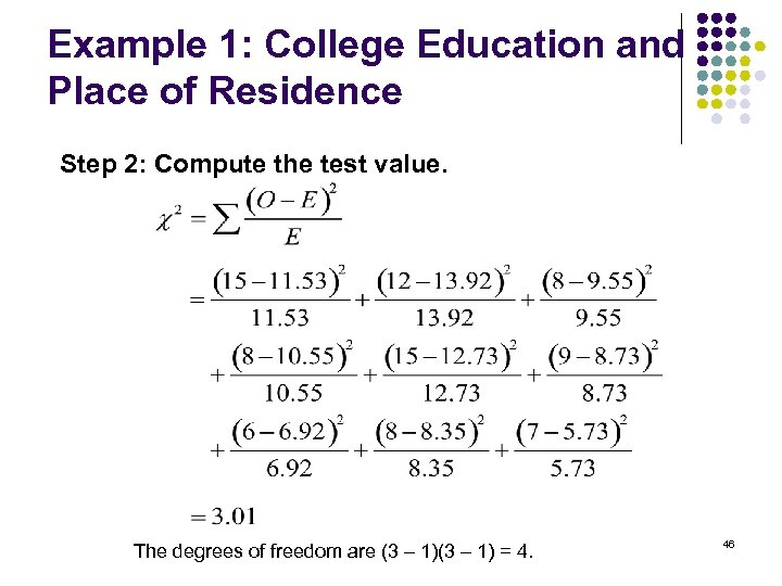 Example 1: College Education and Place of Residence Step 2: Compute the test value.