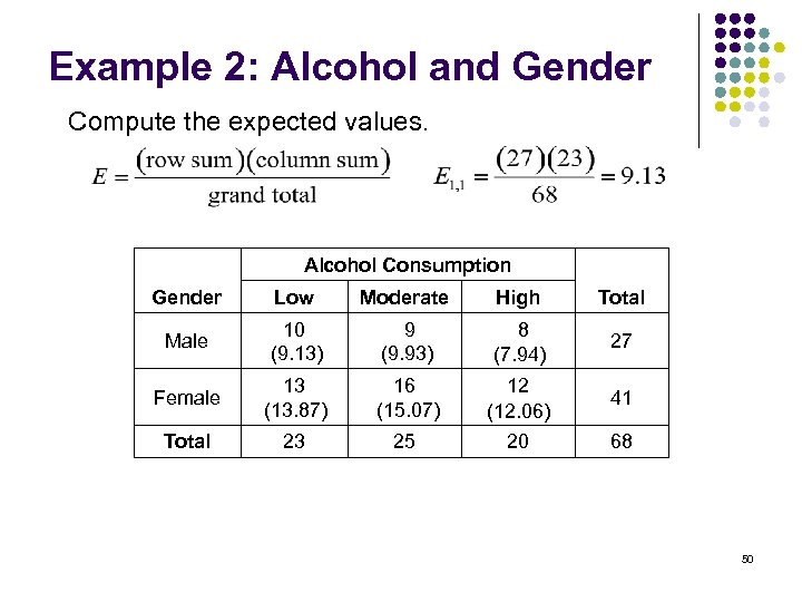 Example 2: Alcohol and Gender Compute the expected values. Alcohol Consumption Gender Low Moderate