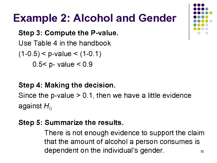 Example 2: Alcohol and Gender Step 3: Compute the P-value. Use Table 4 in