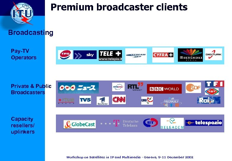 Premium broadcaster clients Broadcasting Pay-TV Operators Private & Public Broadcasters Capacity resellers/ uplinkers Workshop