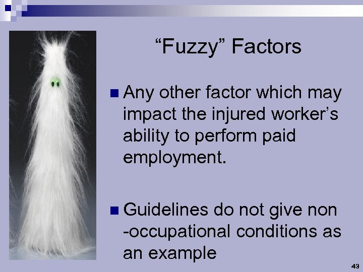 """""""Fuzzy"""" Factors n Any other factor which may impact the injured worker's ability to"""