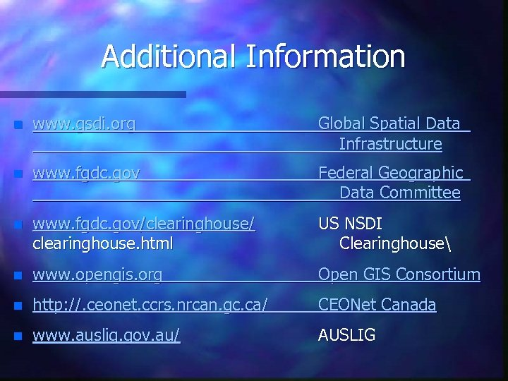 Additional Information n www. gsdi. org Global Spatial Data Infrastructure n www. fgdc. gov