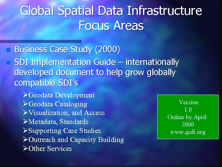 Global Spatial Data Infrastructure Focus Areas n n Business Case Study (2000) SDI Implementation
