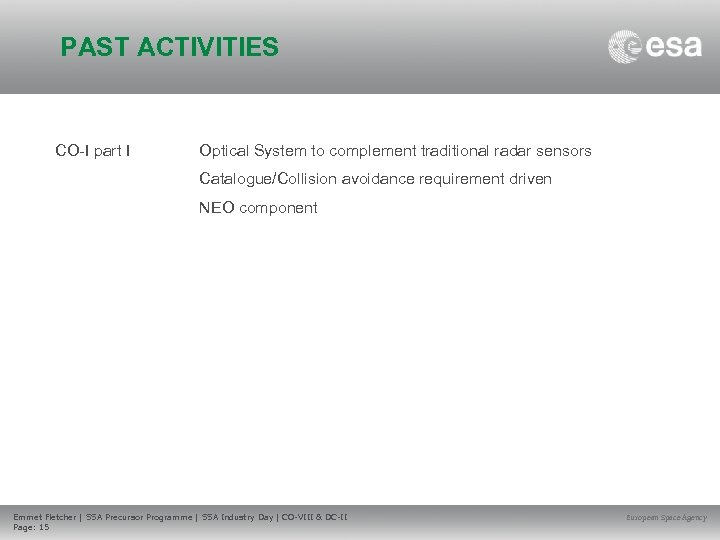 PAST ACTIVITIES CO-I part I Optical System to complement traditional radar sensors Catalogue/Collision avoidance