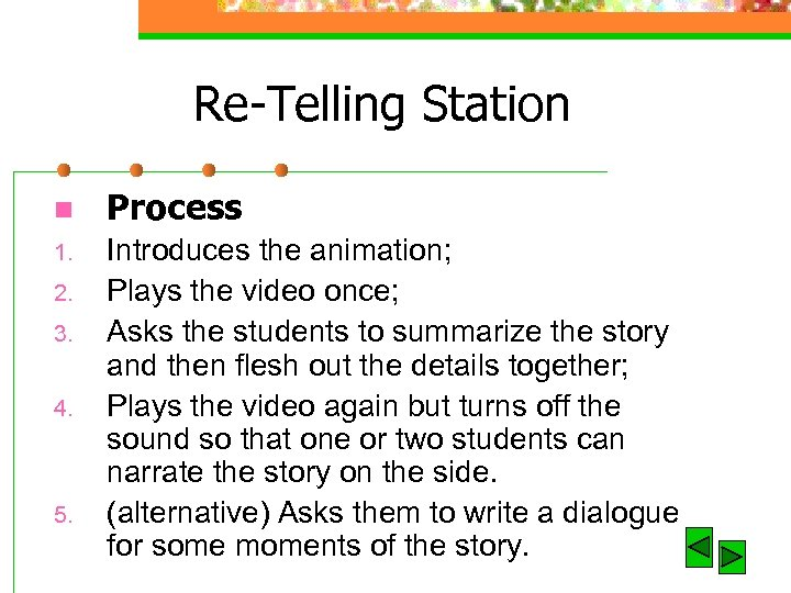 Re-Telling Station n Process 1. Introduces the animation; Plays the video once; Asks the