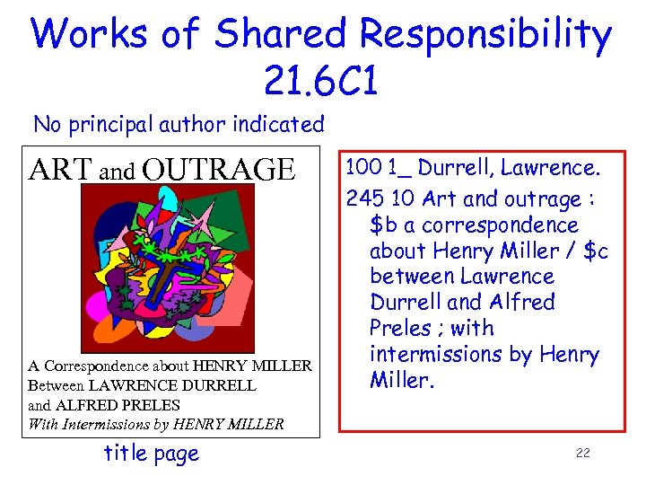 Works of Shared Responsibility 21. 6 C 1 No principal author indicated ART and