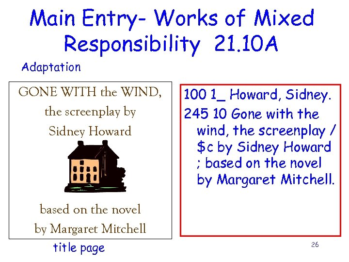 Main Entry- Works of Mixed Responsibility 21. 10 A Adaptation GONE WITH the WIND,