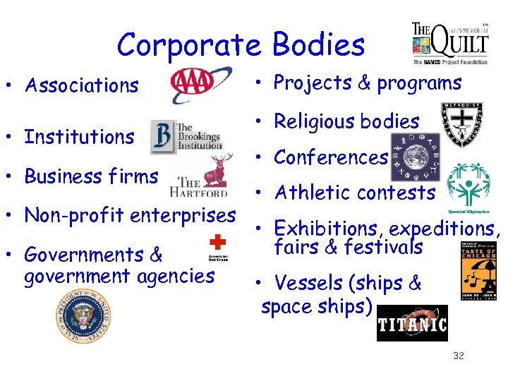 Corporate Bodies • Associations • Institutions • Business firms • Non-profit enterprises • Governments
