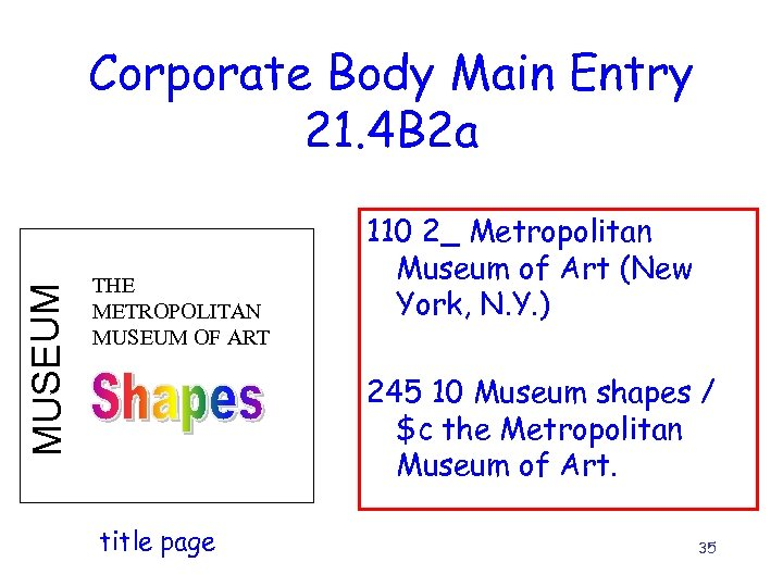 MUSEUM Corporate Body Main Entry 21. 4 B 2 a THE METROPOLITAN MUSEUM OF