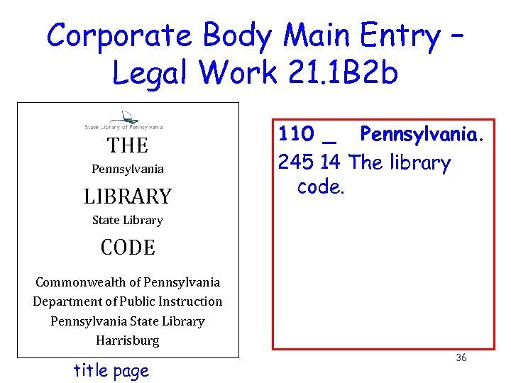 Corporate Body Main Entry – Legal Work 21. 1 B 2 b THE Pennsylvania