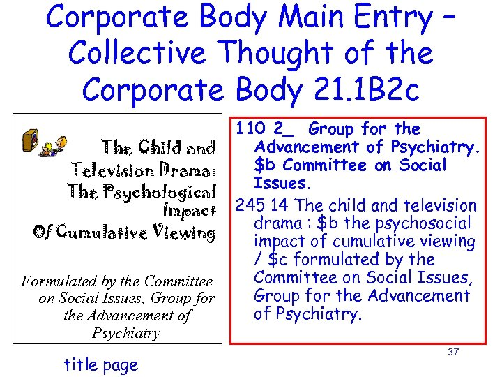 Corporate Body Main Entry – Collective Thought of the Corporate Body 21. 1 B