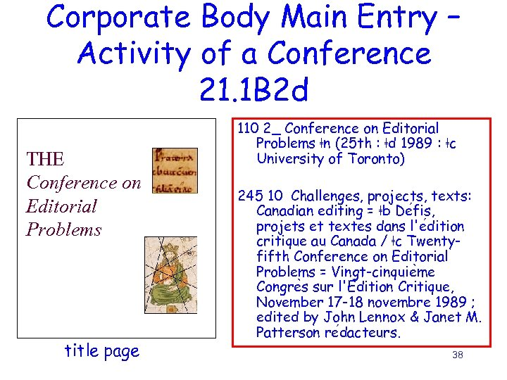 Corporate Body Main Entry – Activity of a Conference 21. 1 B 2 d