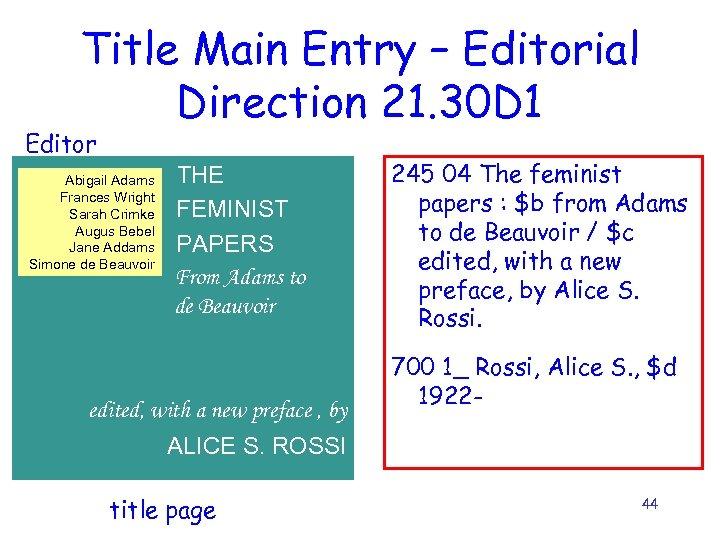 Title Main Entry – Editorial Direction 21. 30 D 1 Editor Abigail Adams Frances