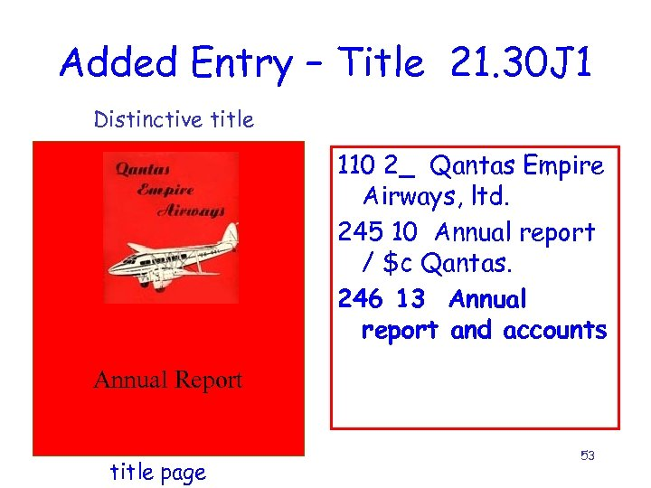 Added Entry – Title 21. 30 J 1 Distinctive title 110 2_ Qantas Empire