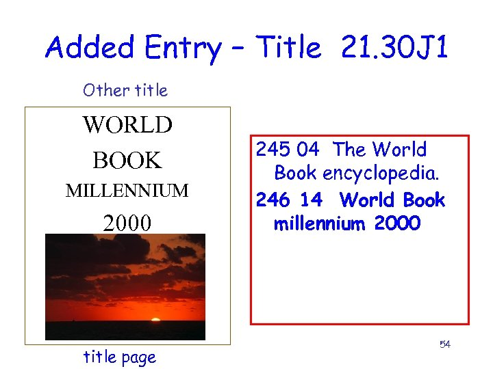 Added Entry – Title 21. 30 J 1 Other title WORLD BOOK MILLENNIUM 2000