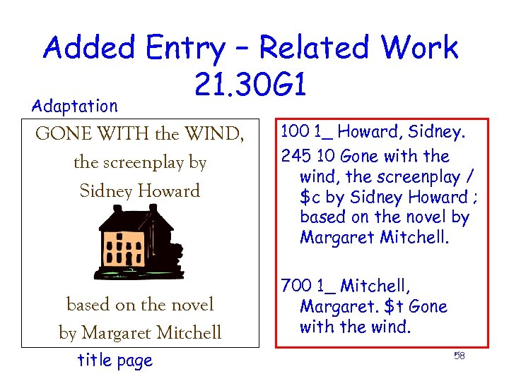 Added Entry – Related Work 21. 30 G 1 Adaptation GONE WITH the WIND,