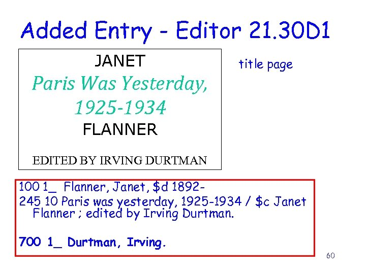 Added Entry - Editor 21. 30 D 1 JANET Paris Was Yesterday, 1925 -1934