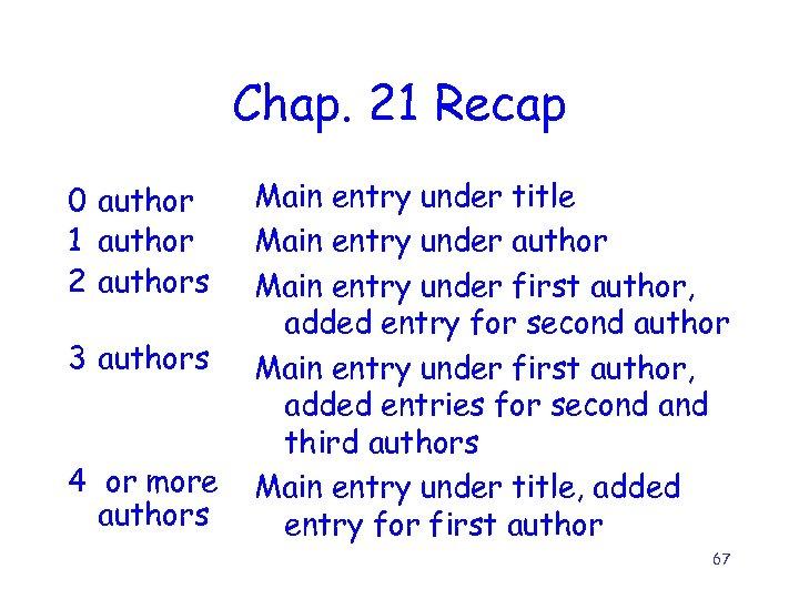 Chap. 21 Recap 0 author 1 author 2 authors 3 authors 4 or more