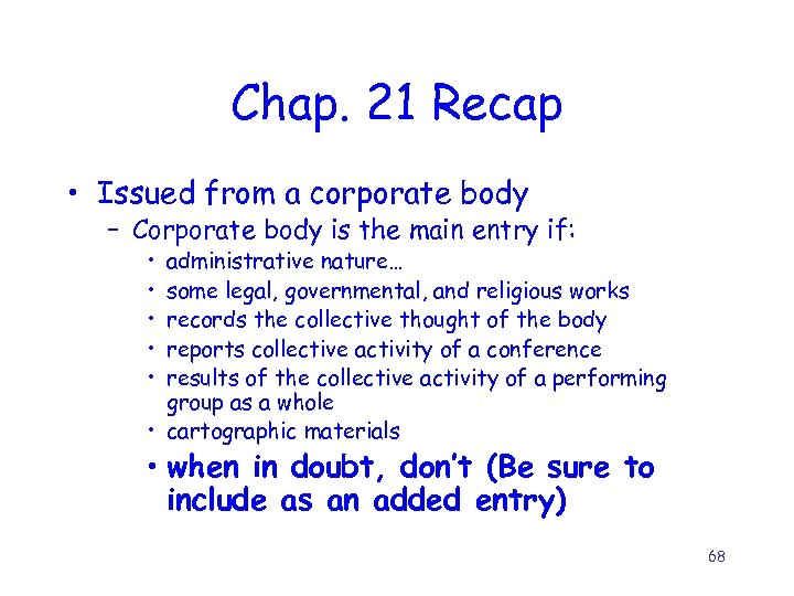 Chap. 21 Recap • Issued from a corporate body – Corporate body is the