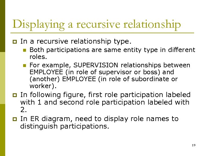 Displaying a recursive relationship p In a recursive relationship type. n n p p