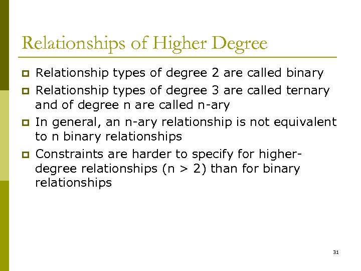 Relationships of Higher Degree p p Relationship types of degree 2 are called binary