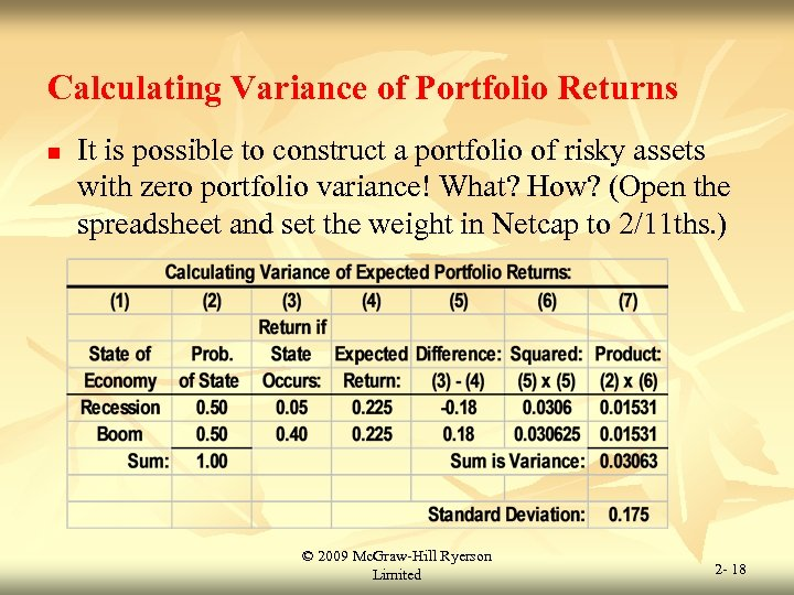 Calculating Variance of Portfolio Returns n It is possible to construct a portfolio of