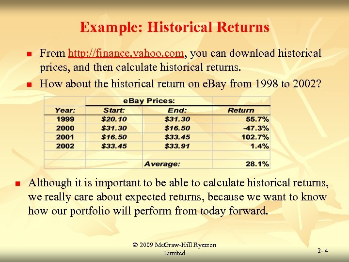 Example: Historical Returns n n n From http: //finance. yahoo. com, you can download