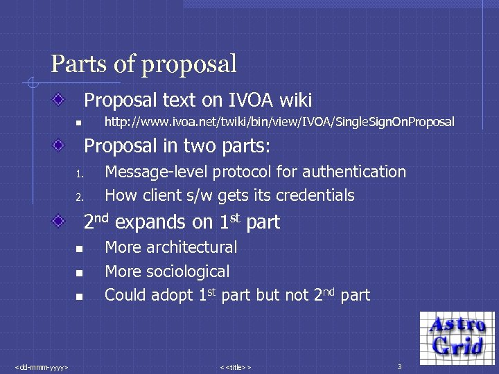 Parts of proposal Proposal text on IVOA wiki http: //www. ivoa. net/twiki/bin/view/IVOA/Single. Sign. On.