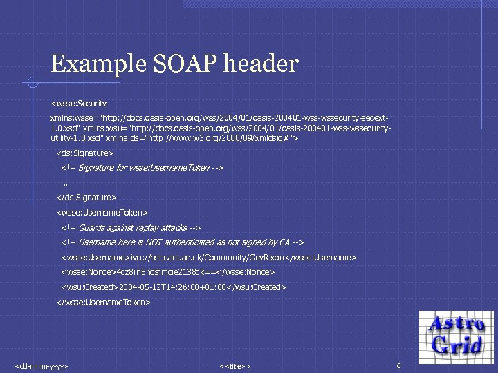 Example SOAP header <wsse: Security xmlns: wsse=