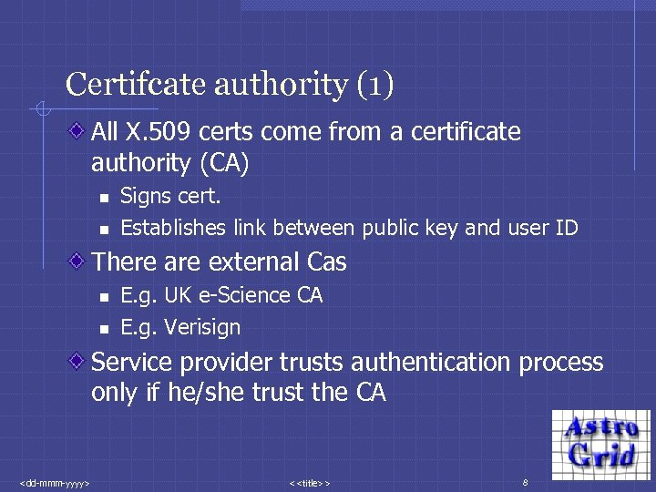 Certifcate authority (1) All X. 509 certs come from a certificate authority (CA) n