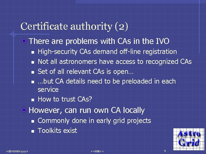 Certificate authority (2) There are problems with CAs in the IVO n n n