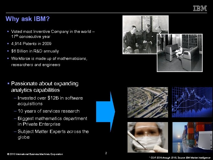 Why ask IBM? § Voted most Inventive Company in the world – 17 th
