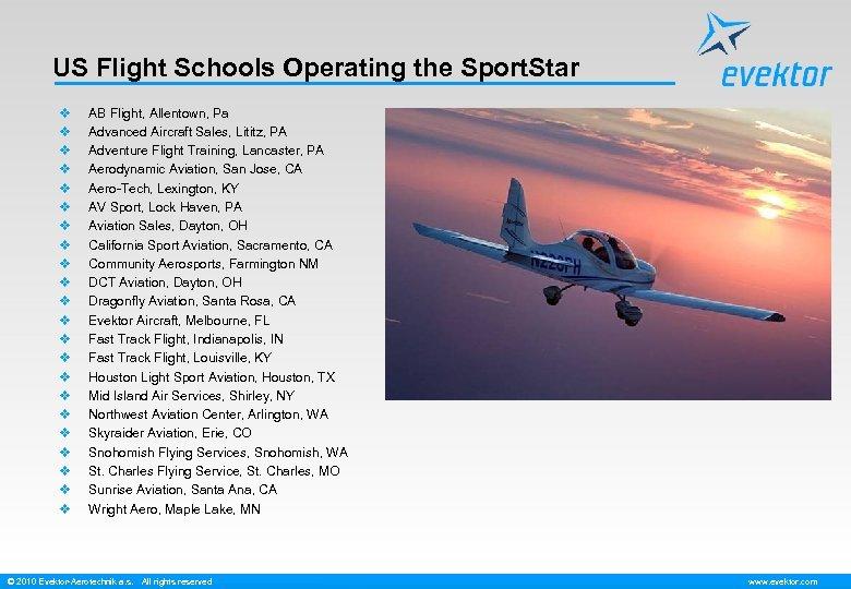 US Flight Schools Operating the Sport. Star v v v v v v AB
