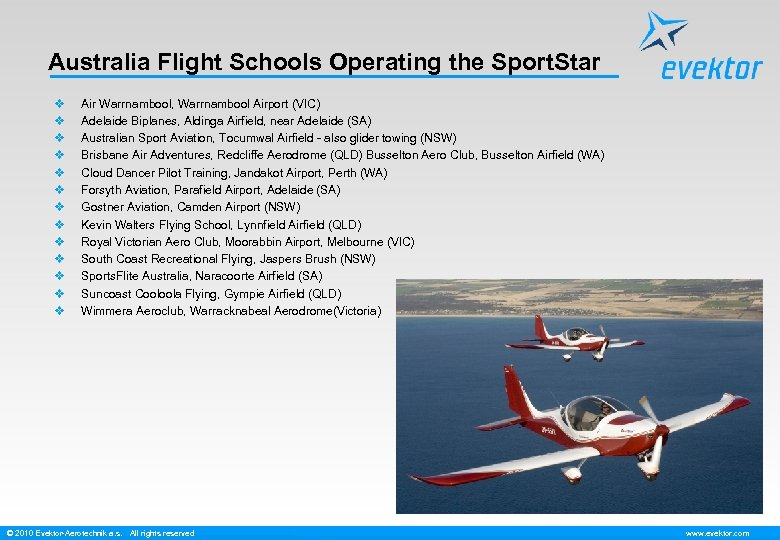 Australia Flight Schools Operating the Sport. Star v v v v Air Warrnambool, Warrnambool