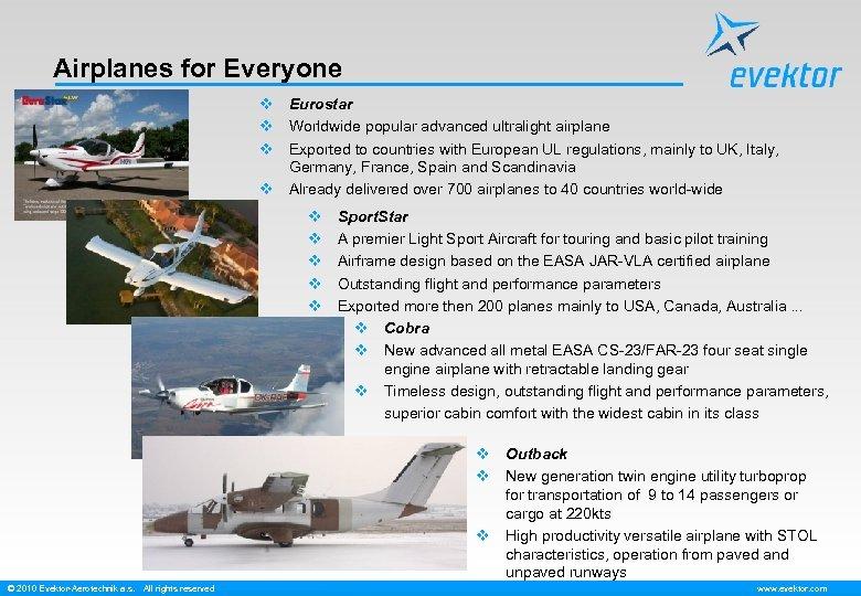 Airplanes for Everyone v Eurostar v Worldwide popular advanced ultralight airplane v Exported to