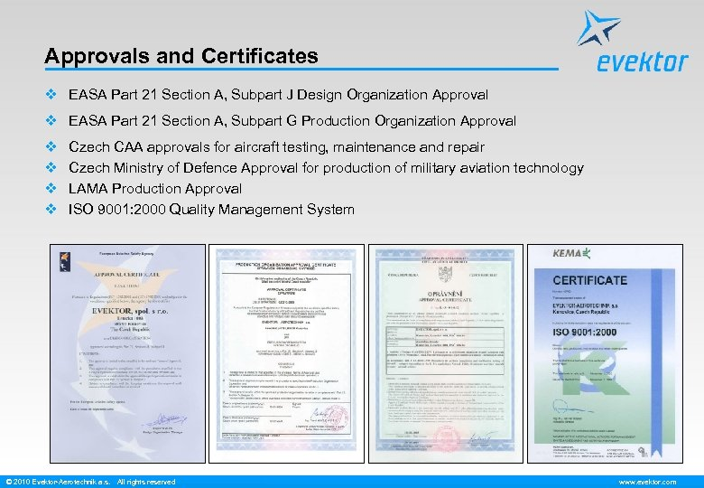 Approvals and Certificates v EASA Part 21 Section A, Subpart J Design Organization Approval