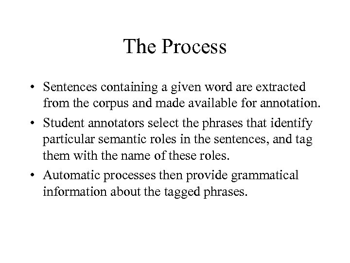 The Process • Sentences containing a given word are extracted from the corpus and