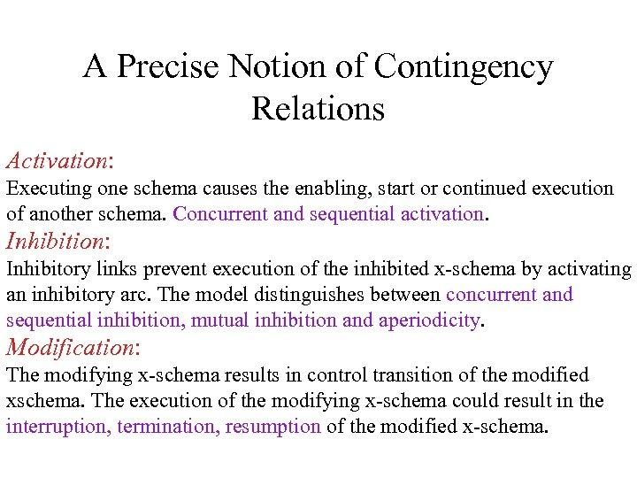 A Precise Notion of Contingency Relations Activation: Executing one schema causes the enabling, start